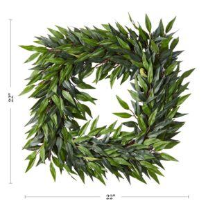 Pure Garden 22 in. Square Artificial Ficus Microphylla Leaf Wreath