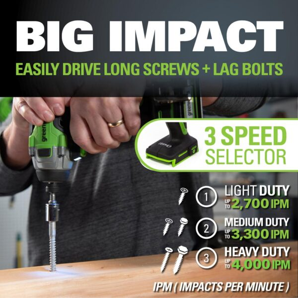 Greenworks 24-Volt Cordless Battery Brushless Impact Driver, 2 Batteries and Charger Included ID24L1520