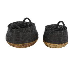 LITTON LANE Round Banana Leaf and Polypropylene Storage Wicker Baskets with Handles (Set of 2)
