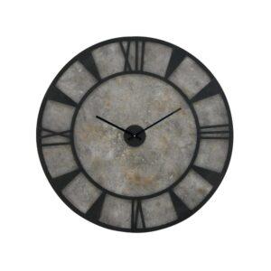 LITTON LANE 35 in. x 35 in. Modern Iron and Wood Wall Clock