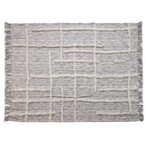 LR Resources Linework 50 in. x 60 in. Gray/Natural Decorative Throw Blanket