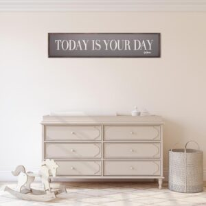 Pinnacle 11 in. x 49 in. Dr. Seuss Today Is Your Day Quote Framed Wood Wall Decor