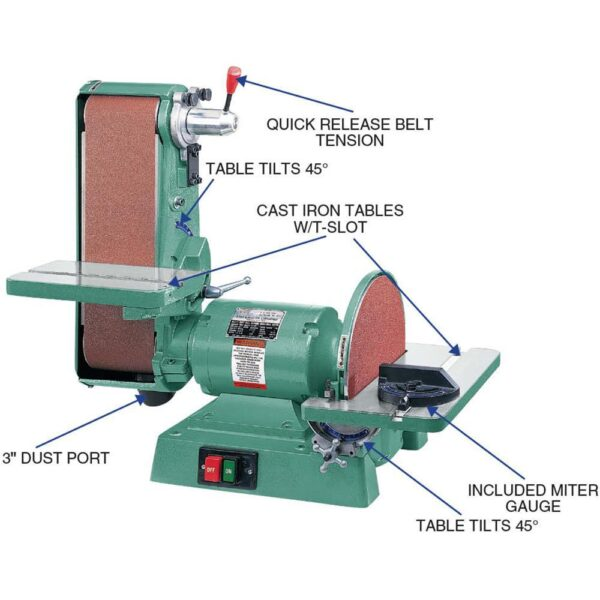 Grizzly Industrial 6 in. x 48 in. Belt 12 in. Disc 1725 RPM Combination Sander