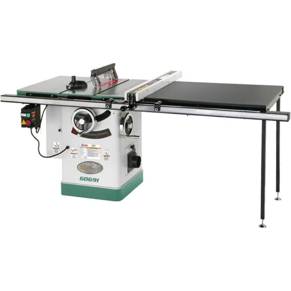 Grizzly Industrial 10 in. 3 HP 220-Volt Cabinet Table Saw with Long Rails and Ri-Volting Knife