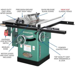 Grizzly Industrial 10 in. 3 HP 240-Volt Cabinet Left-Tilting Table Saw