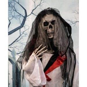 Haunted Hill Farm 5.5 ft. Animatronic Moaning Skeleton Bride Halloween Prop