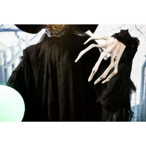Haunted Hill Farm 7.5 ft. Phantom Witch with Multi-Color Crystal Ball Halloween Prop
