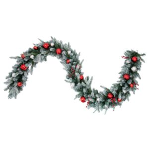 Haute Decor 9 ft. Pre-Lit LED Artificial Frosted Garland with Ornaments