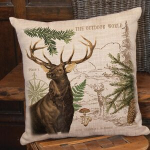 Heritage Lace Lodge Hollow Natural Animal Print Polyester 18 in. x 18 in. Throw Pillow
