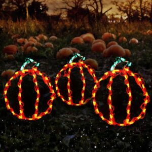 HOLIDYNAMICS HOLIDAY LIGHTING SOLUTIONS Holidynamics, Halloween Yard Decoration 14 in. Lighted LED Mini Pumpkins/ Set of 3