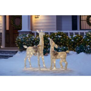 Home Accents Holiday 3 ft LED Lighted White Deer and Doe