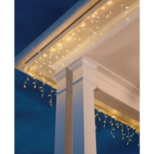 Home Accents Holiday 8 ft. 110-Light LED Warm White Smooth Mini Solar Icicle Light String