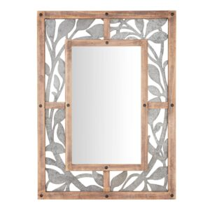Home Decorators Collection Medium Rectangle Wood & Metal Antiqued Farmhouse Accent Mirror (39 in. H x 29 in. W)
