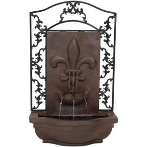 Sunnydaze Decor French Lily Electric Powered Outdoor Wall Fountain in Iron