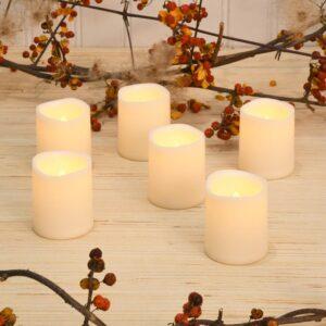 LUMABASE LED Amber Battery Operated Mini Pillar Candles Set of 6