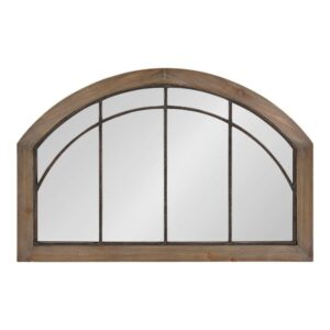 Kate and Laurel Medium Arch Rustic Brown American Colonial Mirror (24 in. H x 36 in. W)