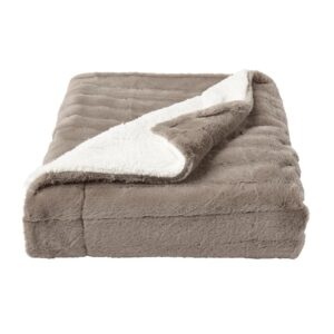 Lavish Home Oversized Faux Fur Light Coffee Jacquard Hypoallergenic Throw Blanket