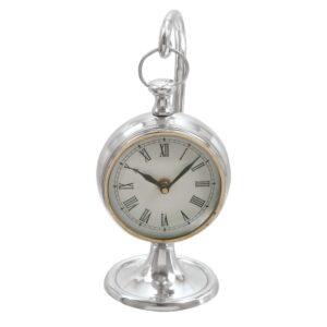 LITTON LANE 11 in. x 5 in. Classic Aluminum Round Table Clock