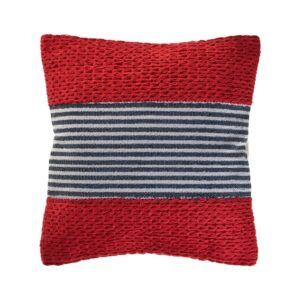 LR Home Bright Red 20 in. x 20 in. Striped Throw Pillow