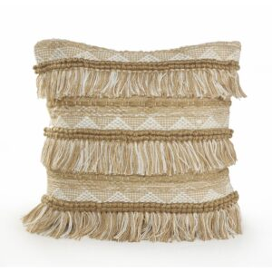 LR Home Fringe 20 in. x 20 in. Beige/White Neutral Polyester Standard Throw Pillow
