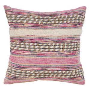 LR Resources Eclectic Pink Striped Hypoallergenic Polyester 18 in. x 18 in. Throw Pillow