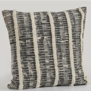 LR Resources Lines and Stripes Black and Gray Striped Hypoallergenic Polyester 18 in. x 18 in. Throw Pillow