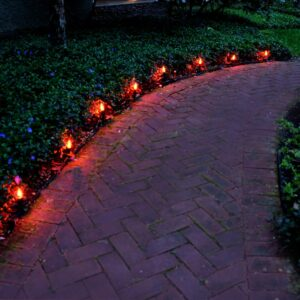 LUMABASE Electric Orange Halloween Pathway Lights with 8-Flame Effect Lights
