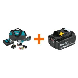 Makita 18-Volt 5.0Ah LXT Lithium-Ion Brushless 4-1/2 / 5 in. Cut-Off/Angle Grinder Kit with bonus 18V LXT Battery Pack 5.0Ah