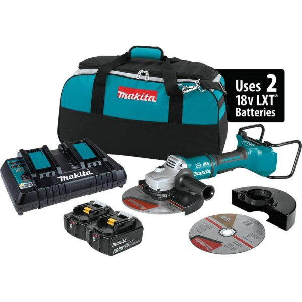 Makita 18-Volt X2 LXT Lithium-Ion (36V) Brushless Cordless 9 in. Paddle Switch Cut-Off/Angle Grinder Kit w Electric Brake 5.0Ah
