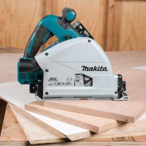 Makita 18V X2 LXT (36V) Brushless 6-1/2 in. Plunge Circular Saw Kit 5.0Ah with bonus Guide Rail and 18V Brushless Impact Driver