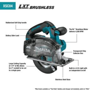 Makita 18-Volt 5-7/8 in. 5.0 Ah LXT Lithium-Ion Brushless Cordless Metal Cutting Saw Kit with Electric Brake and Chip Collector