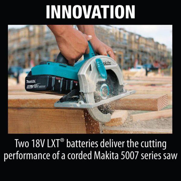 Makita 18-Volt 5.0 Ah X2 LXT Lithium-Ion 36-Volt 7-1/4 in. Cordless Circular Saw Kit with BONUS 2 Batteries 5.0 Ah