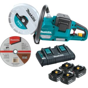 Makita 18V X2 (36V) LXT Lithium‑Ion Brushless Cordless 9 in. Power Cutter Kit, with AFT, Electric Brake, 4 Batteries (5.0 Ah)