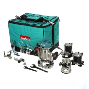 Makita 6.5 Amp 1-1/4 HP Corded Variable Speed Compact Router with 3 Bases (Plunge, Tilt, and Offset Base)