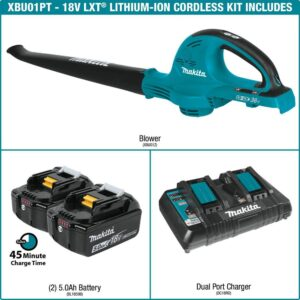 Makita 18-Volt X2 (36-Volt) 208 MPH 155 CFM LXT Lithium-Ion Cordless Blower Kit with (2) Batteries 5.0Ah and Charger