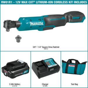 Makita 2.0 Ah 12-Volt MAX CXT Lithium-Ion Cordless 3/8 in./1/4 in. Sq. Drive Ratchet Kit