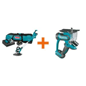 Makita 5.0 Ah 18-Volt LXT Lithium-Ion Brushless Cordless 9 in. Drywall Sander Kit, AWS Capable with bonus 18V LXT Cut-Out Saw