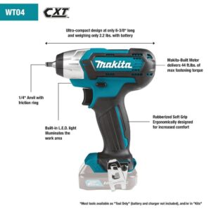 Makita 12-Volt MAX 2.0 Ah CXT Lithium-Ion Cordless 1/4 sq. in. Drive Impact Wrench Kit