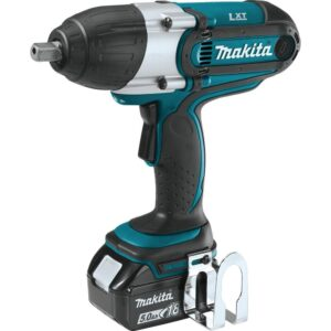 Makita 18-Volt LXT Lithium-Ion Cordless 1/2 in. sq. Drive Impact Wrench Kit with (2) Batteries 5.0Ah, Charger, Tool Bag