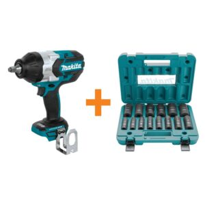 Makita 18-Volt LXT Brushless High Torque 1/2 in. Square Drive Impact Wrench with 14-Piece 1/2 in. Deep Well Impact Socket Set
