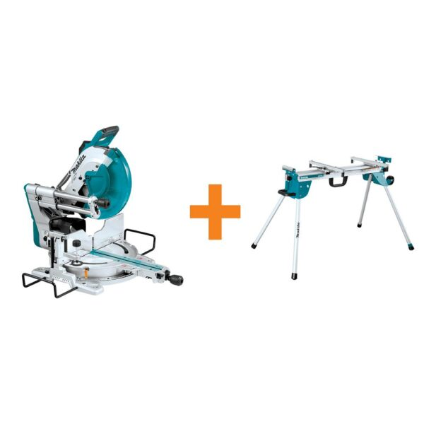 Makita 12 in. Dual-Bevel Sliding Compound Miter Saw with Laser with bonus Compact Folding Miter Saw Stand