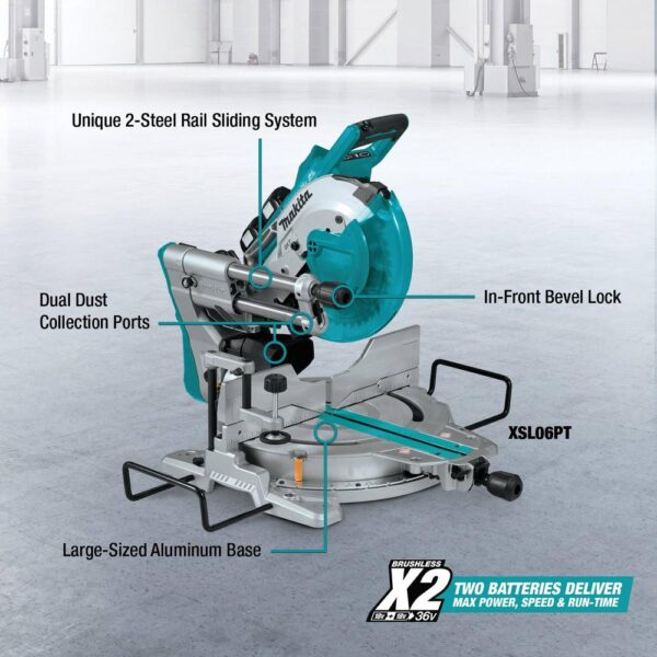 Makita 18-Volt X2 LXT Lithium-Ion Brushless Cordless 10 in. Dual-Bevel Sliding Compound Miter Saw 5.0 Ah with BONUS Router