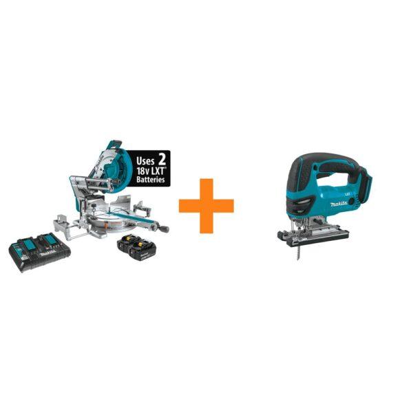 Makita 18V X2 LXT(36V) 12 in. Brushless Dual-Bevel Sliding Compound Miter Saw Kit 5.0Ah with bonus 18V LXT Jigsaw (Tool-Only)