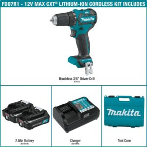 Makita 12-Volt Max CXT Lithium-Ion 3/8 in. Brushless Cordless Driver Drill Kit with (2) Batteries (2.0 Ah), Charger, Hard Case