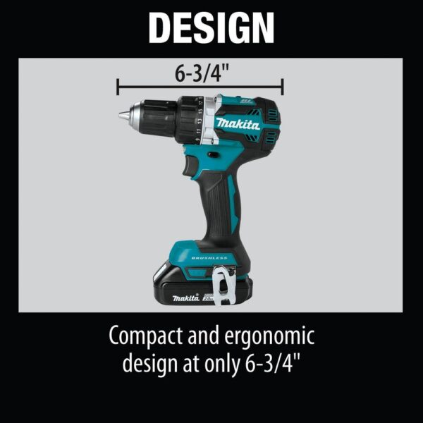 Makita 18-Volt LXT Lithium-Ion Compact Brushless Cordless 1/2 in. Driver-Drill Kit w/ (2) Batteries (2.0Ah), Charger, Bag