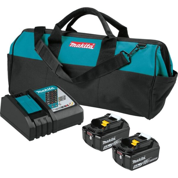 Makita 18V LXT Brushless 4-1/2 in./5 in. Angle Grinder, 1/2 in. Impact Wrench and 2 Gal. Vacuum with bonus 18V LXT Starter Pack