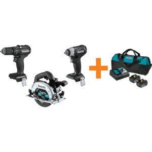 Makita 18V LXT Sub-Compact Brushless 1/2 in. Hammer Driver Drill, Circular Saw and Recipro Saw with bonus 18V LXT Starter Pack