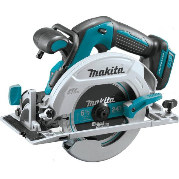 Makita 18V LXT 1/2 in. Brushless Hammer Driver-Drill, 7-1/4 in. Circ Saw and Recipro Saw with bonus 18V LXT Starter Pack