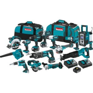 Makita 18-Volt LXT Lithium-ion Cordless 15-Piece Combo Kit with (4) Batteries 3.0Ah, Charger and (2) Bags