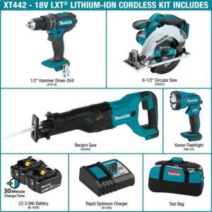 Makita 18-Volt LXT 3.0Ah Lithium-Ion Cordless Combo Kit - Hammer Drill/Circular Saw/Reciprocating Saw/Flashlight (4-Piece)